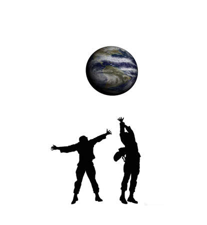Silhouettes playing with planet earth photo