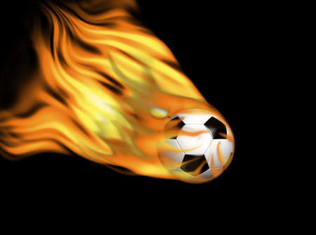 Black and white soccer ball in flames on black background photo