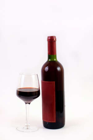 redwine: red wine glass and bottle isolated on white