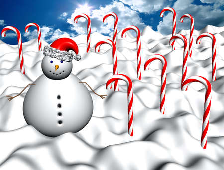 winter landscape with candy canes and snowman photo