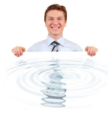 Confident business holding a white board with his rippled reflection photo