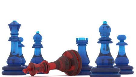 Chess pieces, 3d render photo