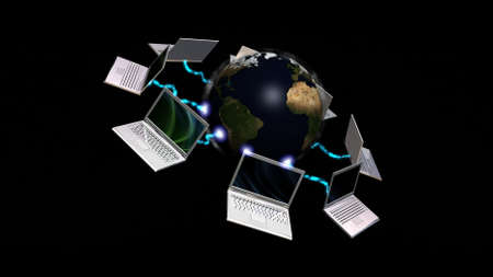 Laptops connected to planet Earth , communication concept photo