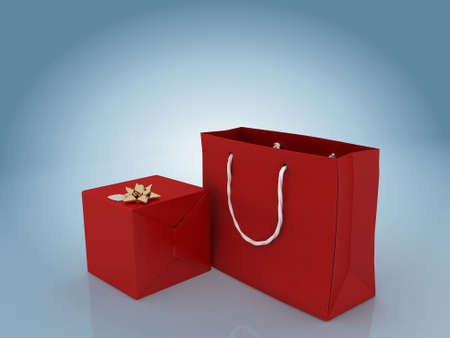 Gift box with golden bow and gift bag , against gradient blue Stock Photo - 2772369