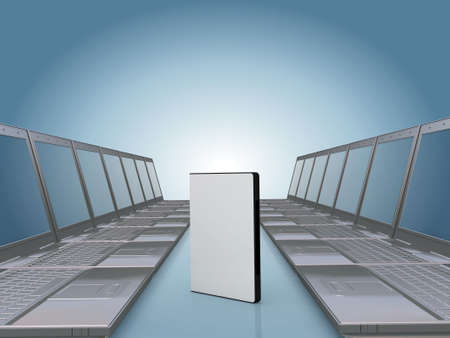 dvdrw: Laptop corridor with DVD software case , space for you text or photo on the cover