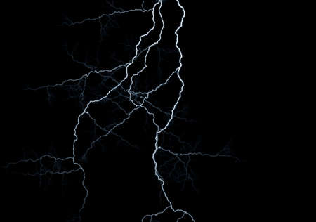 jeopardy: Lightning strikes against black background Stock Photo