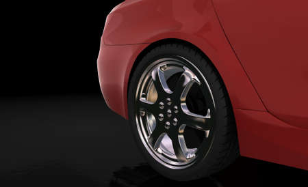 Red sport car , rear wheel with ground reflection Stock Photo - 2772115
