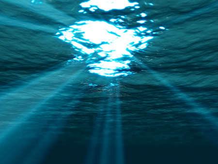 shining through: Subacquea, mare, superficie con raggio di sole brilla attraverso Archivio Fotografico