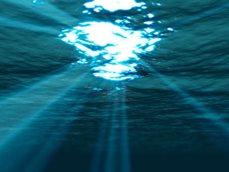 caribbeans:  Underwater , sea surface with sunbeam shining through