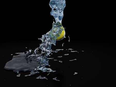 spruzzi acqua: Spruzzi d'acqua sul limone