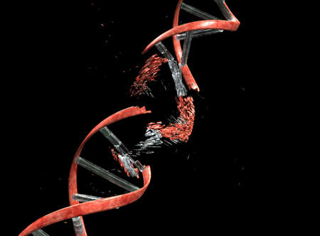 chromosomes: DNA string against black with clipping path
