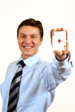 Businessman holding a ace casino card,clipping path included Stock Photo - 3854414