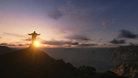 Christ the Redemeer at Sunset, Rio de Janeiro, Brazil, 3D render photo