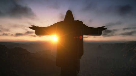 Cristo Redemeer at Sunset, Rio de Janeiro, Brasil, el 3D render photo