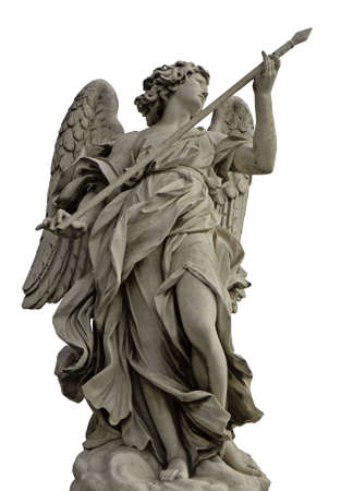 Angel with the lance on Ponte SantAngelo isolated on white background, Rome, Italy photo