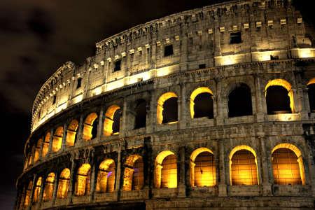 Illuminated Coliseum at night, HDR version, Rome, Italy photo