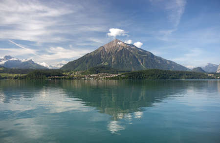 Mount Niesen reflecting in Lake Thun, Switzerland