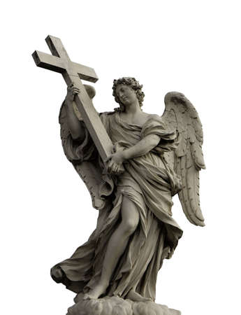 Angel with cross on Ponte Sant'Angelo isolated on white background, Rome, Italy