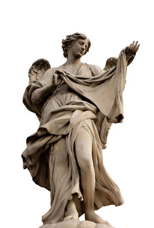 Angel with the Sudarium on Ponte Sant'Angelo isolated on white background, Rome, Italy Stock Photo - 6681445