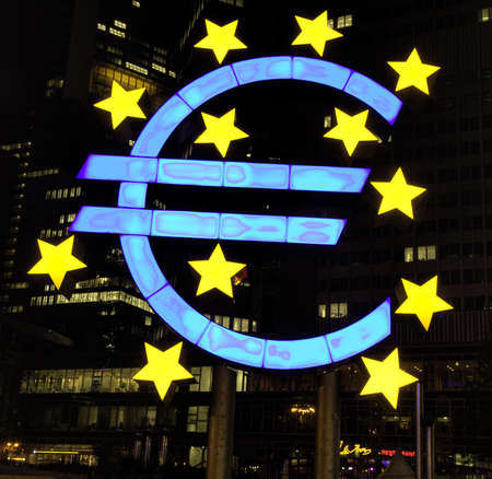 Illuminated EURO sign at night, Frankfurt, Germany Stock Photo - 6977012
