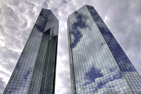 Clouds reflecting in skyscraper, Frankfurt, Hessen, Germany
