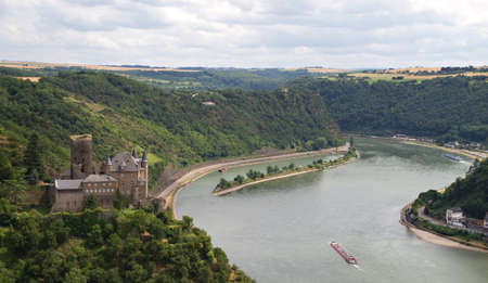 Burg Katz - Cat Castle with Lorelei rock in the Rhineland-Palatinate, St. Goarshausen, Germany