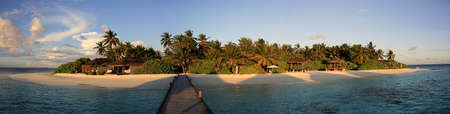Panorama of a tropical island in the evening sun, Kandoludu, Maldives