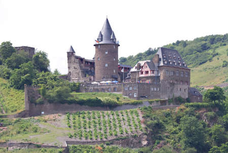 Medieval Castle Burg Stahleck in the Rhine Valley surrounded by vineyards, Bacharach, Germany Stock Photo