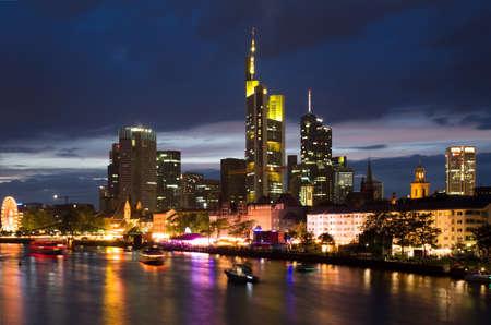 germany: Illuminated Skyline of Frankfurt, Hessen, Germany
