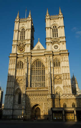The Towers of Westminster Abbey in the evening sun, London, England photo