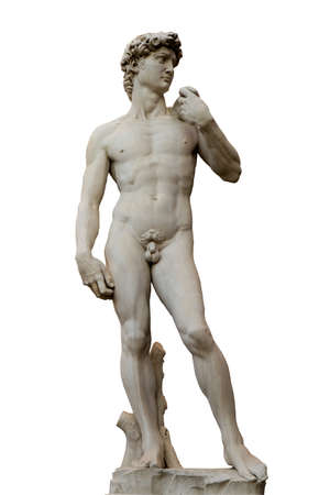 Sculpture of David by Michelangelo isolated on white background, Florence, Tuscany, Italy