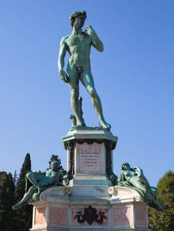 Sculpture of David at Piazza Michelangelo, Florence, Tuscany, Italy Stok Fotoğraf