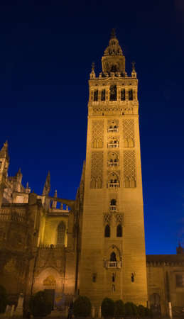 La Giralda at the blue hour, Cathedral of Seville, Andalusia, Spain Stok Fotoğraf