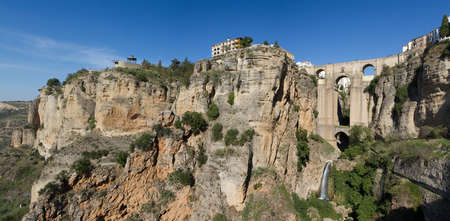 Cityscape of Ronda resting on a mountain with Puente Nuevo - Stone bridge, Andalusia, Spain Stok Fotoğraf