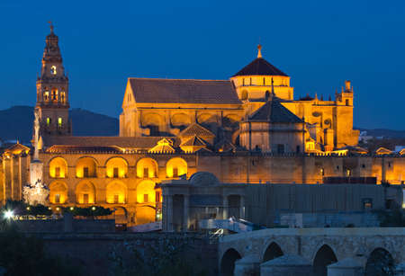 Illuminated CathedralÐMosque of Cordoba at the blue hour, Andalusia, Spain Stok Fotoğraf - 8940544