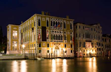 Palazzo Franchetti Cavallo at night - 16th century palace at the Grand Canal, Venice, Italy photo