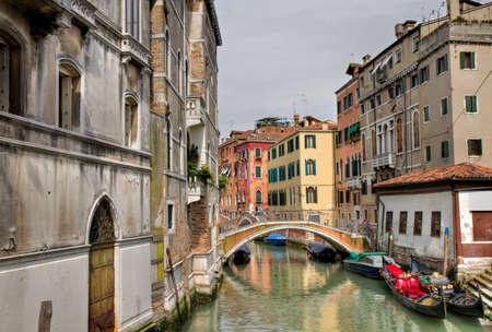 Gondola at a small bridge in Castello, Venice, Italy Stock Photo - 9599587
