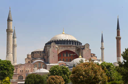 Famous Hagia Sophia under a blue sky, Istanbul, Turkey