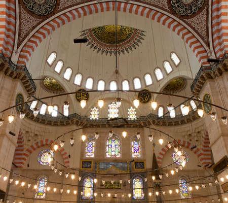 Interior of the Suleymaniye Mosque, Istanbul, Turkey Editorial