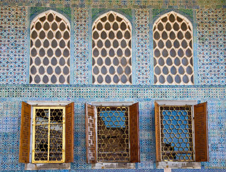 Arabesque Windows of the Topkapi palace, Istanbul, Turkey