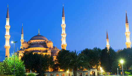 Illuminated Sultan Ahmed Mosque during the blue hour, Istanbul, Turkey photo