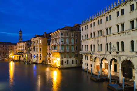 Grand Canal at twilight as seen from the Rialto bridge, Venice, Italy