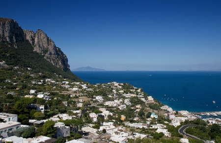 Village of Capri with Vesuvius in the background, Campania, Italy Stok Fotoğraf