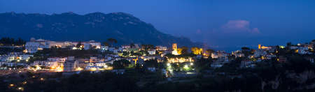 Panorama of Ravello during the blue hour, Campania, Italy photo