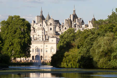 james: St. James Park with horse guards buildings and St. James pond, London, England
