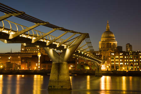 Cityscape of London at the blue hour with Saint Paul