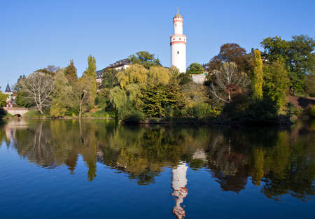 hessen: Castle Bad Homburg and watchtower reflecting in pond, Hessen, Germany Stock Photo