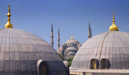 Blue mosque with Domes of the Hagia Sophia in the foreground, Istanbul, Turkey