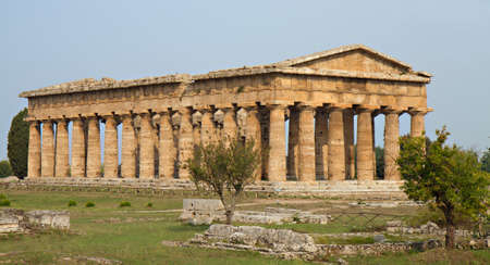 Ancient greek temple of Poseidon, Paestum, Campania, Italy