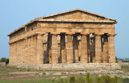 Temple of Poseidon, Excavation of Paestum, Campania, Italy Stok Fotoğraf